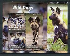 St Vincent & The Grenadines 2015 MNH Wild Dogs 3v M/S I Wild Animals