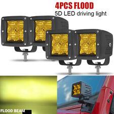 4Pcs 5D 3inch Flood Led Work Light Bar Backup Pods Offroad ATV Tractor Cube 24W