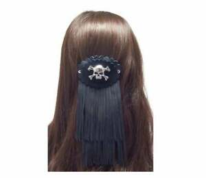 Leather Hair accessories, fringed hair barrette with skull, biker gifts