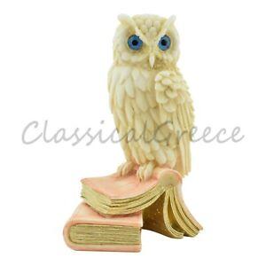 "Statue Ancient Greek Alabaster Owl 6.30"" - 16cm Cast Marble Mythology Athena"