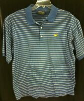 Masters Collection Golf Polo 100% Cotton Blue/Striped Mens L. Z89