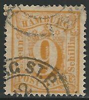 Hamburg, Scott #21, 9s yellow, used, fine-very fine