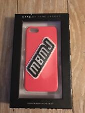 MARC BY MARC JACOBS PINK IPHONE CASE WITH BLACK/WHITE RAISED MBMJ LOGO FITS 5 5s