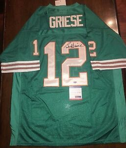 Bob Griese SIGNED #12 Miami Dolphins size 52 M/N jersey w/PSA