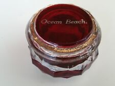 RARE ANTIQUE RUBY RED FLASH GLASS RING BOX OCEAN BEACH SAN FRANCISCO 1900 TRINKE