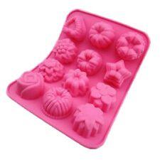 12 Molde Silicona Pan Tortas Jabón de flores Jelly Hornear Molde Muffin Bandeja De Chocolate
