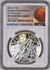 2020-P Basketball Hall Of Fame Proof Silver Dollar, Ngc Pf70 Uc, First Release