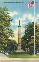 Postcard Soldiers Monument Sunbury Pennsylvania