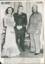 1938 Premier and Bruno Mussolini and Gina Ruberti Original Wirephoto