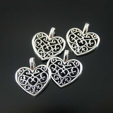 100 pcs/Lot Retro Style Silver Alloy Hollow Love Heart Charms Pendants Findings