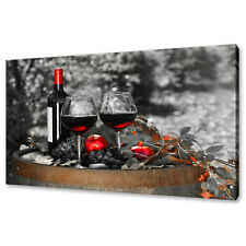 RED BOTTLE OF WINE CANVAS PRINT PICTURE WALL ART FREE FAST POSTAGE KITCHEN DECOR