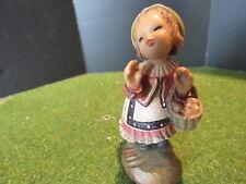 "Anri Ferrandiz BASKET GIRL or HAVE YOU HEARD  Figurine Woodcarving 3"""