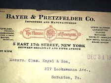 Bayer & Pretzfelder Billhead  1917 New York Opera Glasses Clocks Watches