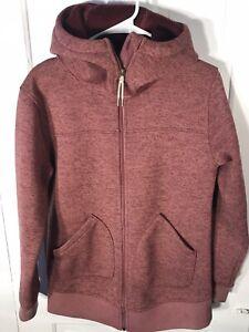Snowboard Burton Women's Minxy Hooded Full Zip Jacket Red Small S Fleece Lined