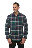 Elevani Men's Long Sleeve Regular Fit Flannel Casual Green/Navy Shirt