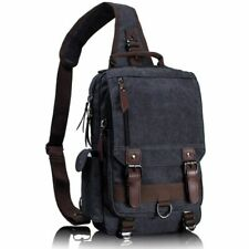 Mens Women Chest Bag Casual Sling Large Capacity School Canvas Crossbody Bag