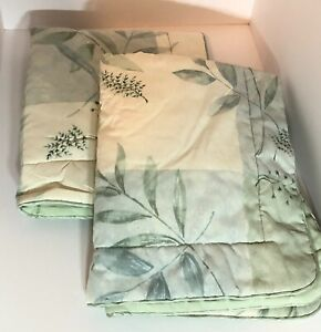 Croscill Queen Size Beige and Green Plant-Themed Bedspread with Two Pillow Shams