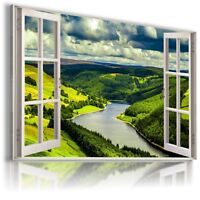 FOREST RIVER MOUNTAINS 3D Window View Canvas Wall Art Picture W54 MATAGA .