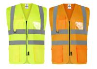 Traega TWC04 Hi Vis Visibility Safety Executive Vest Waistcoat Jacket Pockets