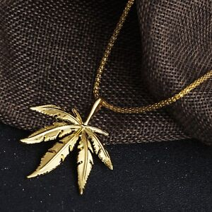 Big Leaf Weed Pendant Necklace Gold Color Plated Hip Hop Cool Leaves For Men New