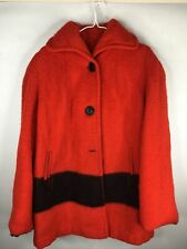 Vintage Hudsons Bay Point Blanket Red Wool Hooded Coat Jacket