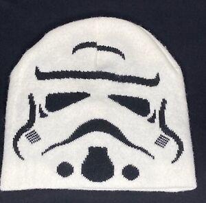 Star Wars Storm Trooper White W/ Black Knit Ski Winter Beanie Hat Boys One Size
