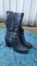 Mi Piaci Black Zip Up Calf Length Boot Sz 40