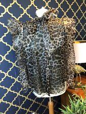 ZARA Leopard Print Organza Blouse With Bow Size MEDIUM Puff Sleeves BNWT