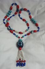 "VINTAGE LONG 36"" GLASS BEAD NEKCLACE HUGE TASSEL PENDANT WHITE RED BLUE TURQUOIS"