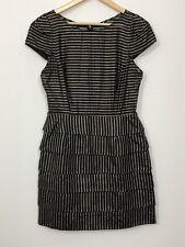 ZIMMERMANN Womens Black Striped Tiered Cap Sleeves Silk Cocktail Dress Size 0 1