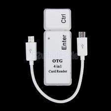 USB2.0+Micro OTG SD/TF/MS/M2 Card Reader for Samsung MIUI Cellphone PC White