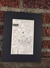 "City Map Melbourne Australia  1958 Mid Century Black Matted 8""x10"" Art Print"