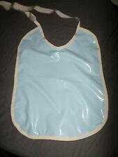 ADULT BABY SISSY BIB blue shiny  PLASTIC PVC  front  PLASTIC BACKED