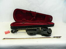UNMARKED BLACK VIOLIN & BOW INSTRUMENT WITH VERY NICE BLACK 4/4 CARRYING CASE