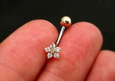 16g Dainty CZ Flower Belly Ring naval belly button ring rose gold silver 6 8 10m