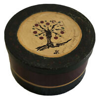 "Vintage Folk Art Handmade, Handpainted Round Storage Box with Apple Tree (9""x5"")"