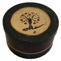 "Vintage Folk Art Handmade, Handpainted Round Storage Box with Apple Tree (9""x5"")"