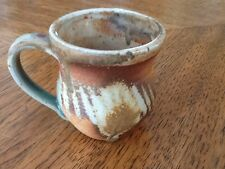 Handcrafted Signed Pottery Mug, Brown Earth Tones, Lightly Glazed