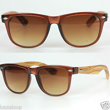 Bamboo Dark Wood Temples Square Mens Womens Sunglasses UV400