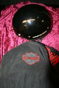 Harley Davidson Black Helmet Sz L W/ Orange Harley Davidson Logos