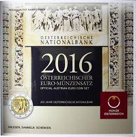 Österreich 2016 KMS 1 Cent bis 2 Euro Nationalbank Handgehoben im Folder