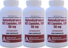 Diphenhydramine 50 mg Allergy Medicine Generic Benadryl 1000 per Bottle 3 PACK