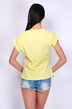 Casual T-Shirt Sun Print 100% Cotton Top Crew Neck Party Tunic Size 8-14 FB88