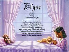 """Praying Girl 2"" Name Meaning Prints Personalized (Hispanic, African American)"