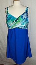 Simply Swim Spot On Twist Front Swim Dress - Blue Super Slimming - Sz 22W