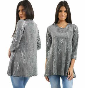 3/4 Sleeve Flared Swing Midi Top Women Silver Sequin Shirt Fancy Dress Party Top