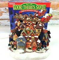 Vintage NOMA LOOK! Theres Santa Lighted Christmas Village 1995 in Original Box