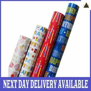 4Roll x 3m Gift Wrapping Paper Roll Male Female Happy Birthday Candle Balloon