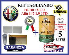 KIT TAGLIANDO FILTRI + OLIO BARDAHL 5W40 5LT ALFA 147 1.9 JTD