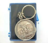 Walt Disney World Vintage Coin Keychain Silver Color Magic Kingdom Lands Edition